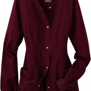 Women Burgundy Stretch scrub jacket