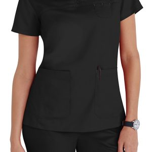 Women 3 pocket mock-wrap black scrub top