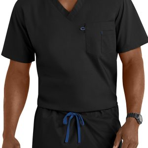 Black unisex v-neck scrub top