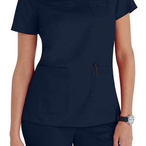 Women 3 pocket mock-wrap blue scrub top