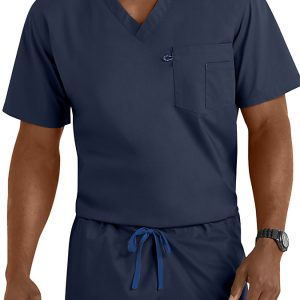 Blue unisex v-neck scrub top