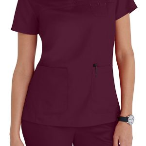 Women 3 pocket mock-wrap burgundy scrub top