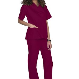 Burgundy Two piece unisex uniforms scrub set