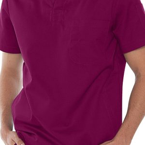 Mens v-neck burgundy scrub top