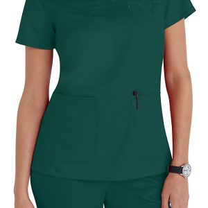 Women 3 pocket mock-wrap green scrub top