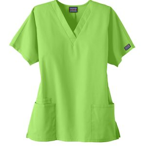 Women 2 Pocket Workwear v-neck green scrub top