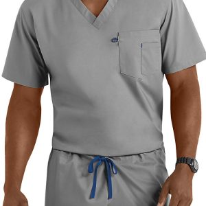 Gray unisex v-neck scrub top