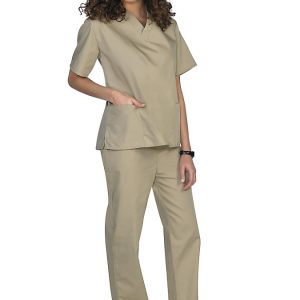 Khaki Two piece unisex uniforms scrub set