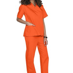 Orange Two piece unisex uniforms scrub set