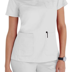 Women 3 pocket mock-wrap white scrub top