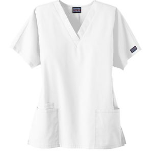 Women 2 Pocket v-neck white scrub top